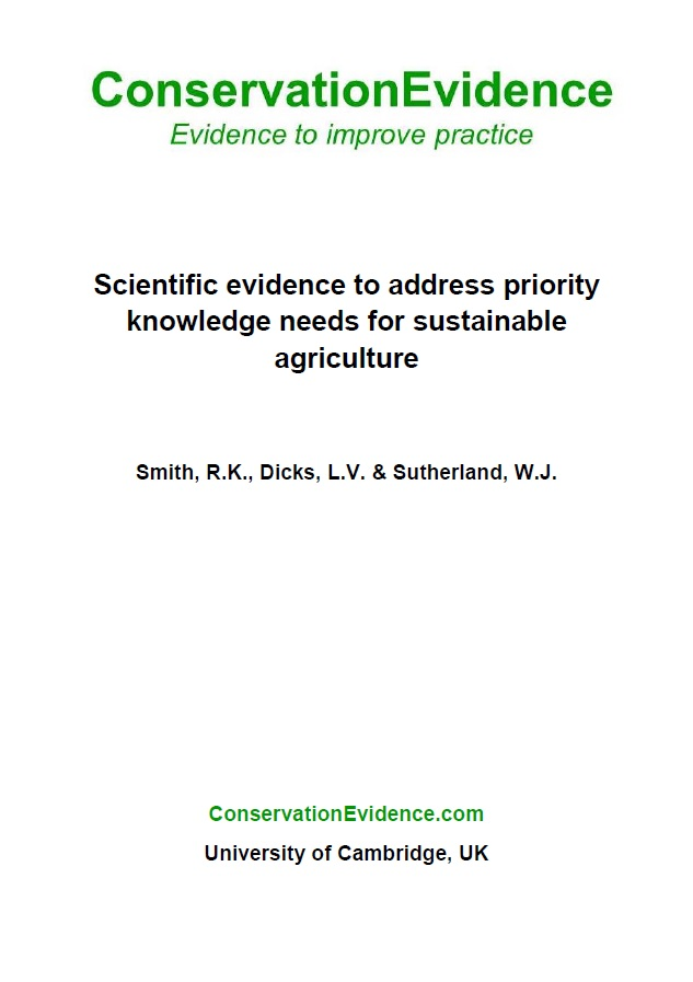 Addressing Priority Knowledge Needs for Sustainable Farming